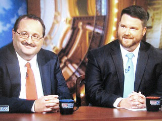 Iowa Republican Party Chair Jeff Kaufmann (left) and Democratic Party Chair Troy Price are shown during a past episode of Iowa Press on Iowa Public Television. Kaufmann is a native of Wilton and Price is a native of Durant. Both have managed the state parties during the last two election cycles, where there have been a combination of 40 presidential candidates in 2016 and 2020.