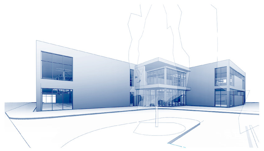 The entrance plaza of a proposed North Scott YMCA.