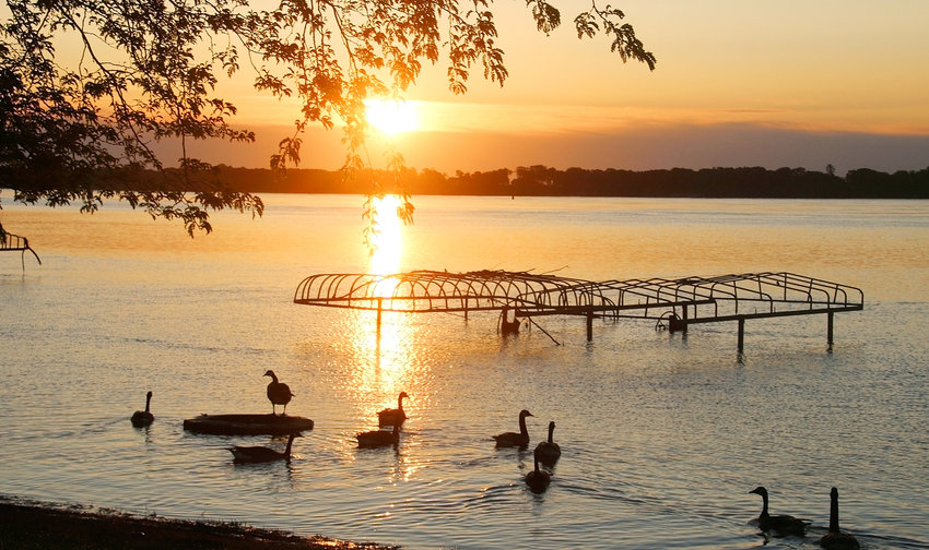 5:27 A.M. - PRINCETON: With the sun casting a morning glow over the Mississippi River, this gaggle of geese were the only things stirring in Princeton.