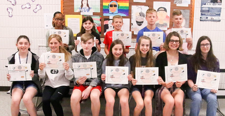 Students were formally recognized during a small award ceremony. Front (l-r): McKinley Toohey, Carley Bredar, Andre-Haakon Breyholtz-Mott, Makenzie Housenga, Anna Harris, Madison Gustas and Halea Osborn. Back: Kyra Mack, Gretchen Hoft, Keaton Kress, John Dobbe and Mason Herrington. Not present for the picture were Nora Glover, Caleb Strom, Luke Simmons, Paige Copp, Aiden Connors, Drew Metcalf and Avery Kelly.