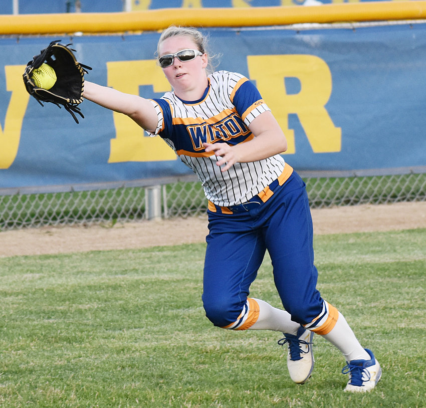 Peyton Souhrada makes a catch in left field at home vs. Mount Pleasant.
