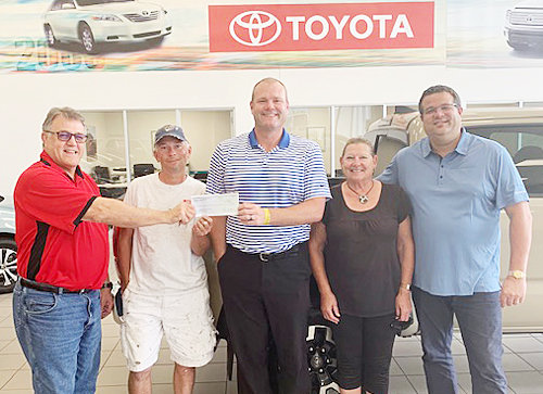 Toyota of Muscatine recently made a $2,500 donation to the Wilton Chamber of Commerce for its 2019 Founders Day Event Aug. 16-17 in downtown Wilton. Pictured from left include Bruce Rabedeaux, Founders Day co-chair; Matt Harris, Founders Day beer tent chairman; TJ Deere of Toyota of Muscatine; Eva Belitz, Founders Day co-chair and Chamber executive vice president; and Jimmy Greenhaw of Toyota of Muscatine.