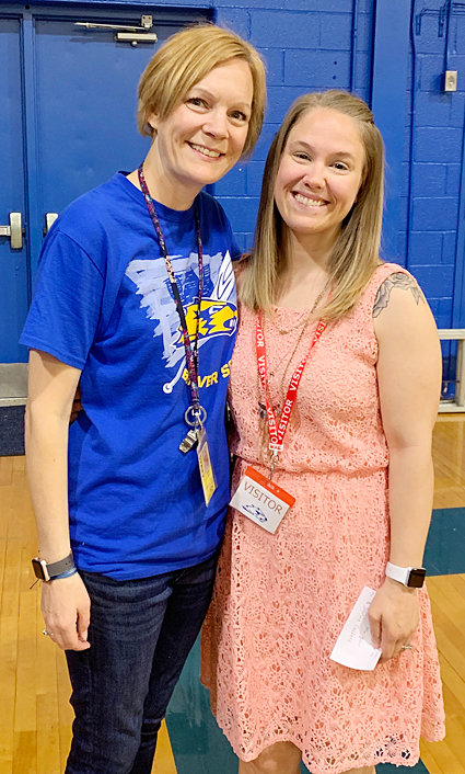 Wilton's 2019 Teacher of the Year—Wilton Elementary School fifth and sixth grade social studies teacher Jaimie Caffery (left) was named 2019 Teacher of the Year at the school district's annual teacher appreciation event. She's pictured with Wilton PTO President Sarah VanDusen.