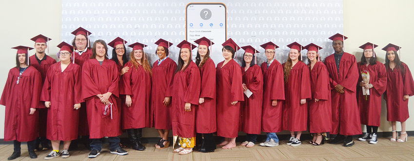 A group of 2019 Muscatine Community College's HiSET graduates are shown above at the commencement ceremony held June 19 at Calvary Church in Muscatine.