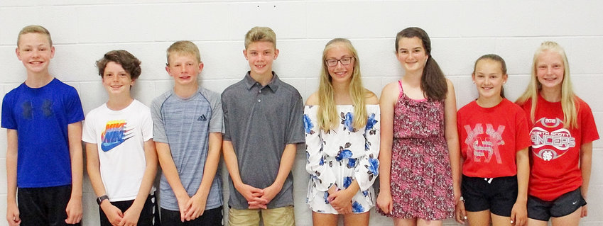 These Alan Shepard Elementary sixth-graders earned the Academic Excellence Award. From left: Lucas Badger, Cole Johnson, Charlie Ohl, Yorton Hagedorn, Kate Blodig, Savannah Skinner, Cadence Strom, and Meredith Carlson.