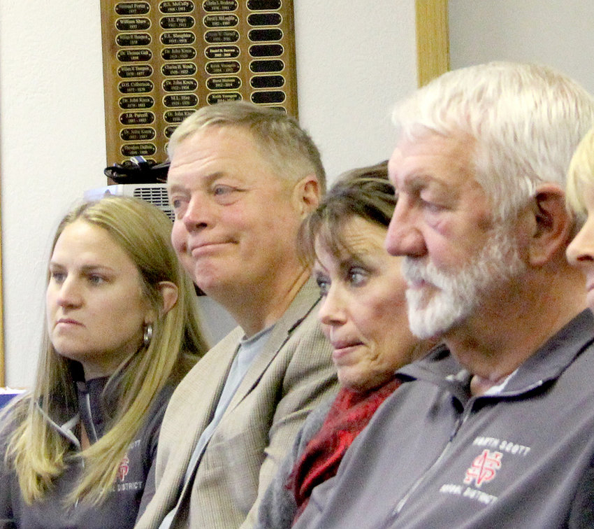 School board members Molly Bergfeld, John Maxwell, Joni Dittmer and Glen Keppy listen during a 2018 Princeton City Council meeting.