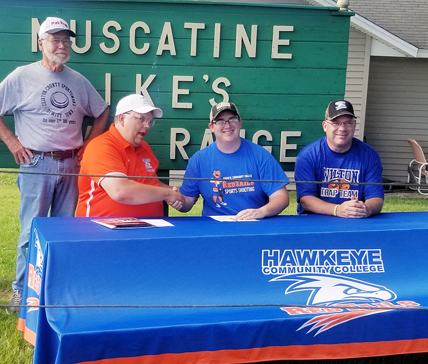 Wesley Madson, a recent graduate of Wilton High School, recently signed to trap shoot with Hawkeye Community College in Waterloo. While at Wilton he participated on the Wilton Trap Team. He plans to study natural resources while in college and is pictured above with coaches, family and friends.