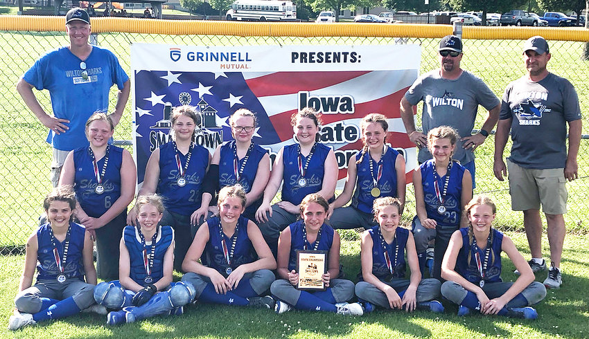 12U State Champions—The Wilton Sharks 12U softball team recently won a state championship at the end of June. Team members include: Front from left, Kaelyn Holladay, Natalie Hartman, Kaydence Boorn, Jessie Mach, Amber Oien and Kinsey Drake; middle from left, Kiersten Zaiser, Lela Glover, MacKenzie Rahlf, Ashley Swift, Calli Langley and Kammeri Sulzberger; back row, coaches Reggie Drake, Kurt Hartman and Bill Mach.