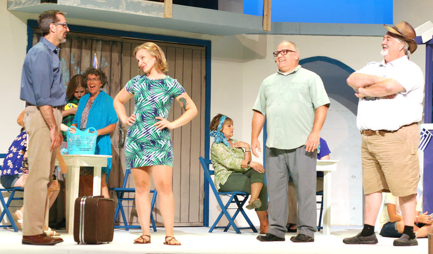 Sophie (Emily Majetic) meets her potential dads: Sam (Clint Balsar), Harry (Lonnie Behnke), and Bill (Tony Dexter).