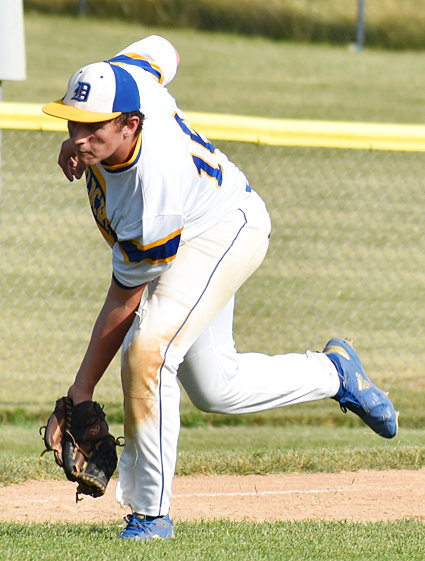 Durant third baseman Ben Orr made several big plays in District action against West Liberty.