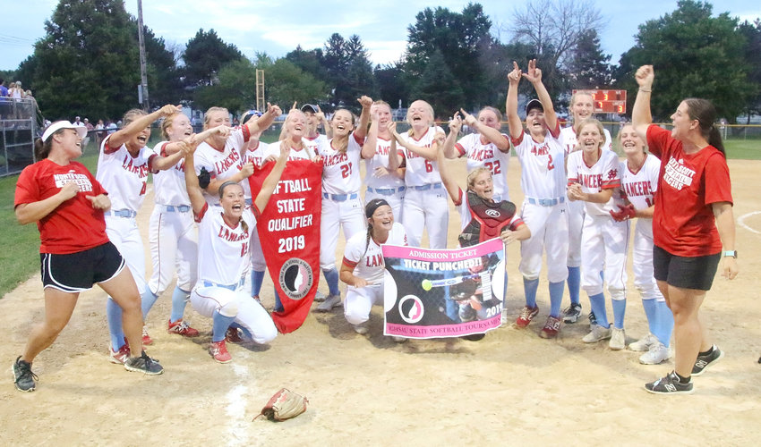 North Scott's girls' softball players couldn't contain their excitement after ending a nine-year drought and returning to this week's state softball tournament with a 3-0 regional final win over Fairfield on Tuesday, July 16. The Lancers were scheduled to make their Class 4A state tourney debut on Tuesday (July 23) against Oskaloosa.