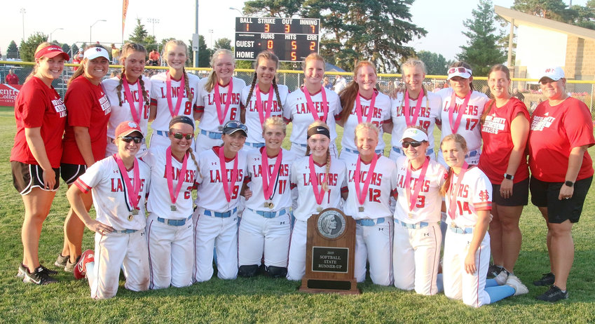 North Scott's girls' softball team finished the season with a 28-15 record, and a second-place finish at the Class 4A state tournament. Team members included, front (l-r): Sam Lee, Taylor Robertson, Brooke Kilburg, Rachel Anderson, Abby Moeller, Ashlynn Shannon, Alexys Beadle and Natalie Naber. Back: Assistant coach Stephanie Baldwin, head coach Holly Hoelting, Paige Westlin, Kate Hayes, Kinsey Newman, Kyleigh Westlin, Drew Lewis, Kaylee Gerardy, Ryann Cheek, Emma Sandknop, assistant coach Halle Eller, and assistant coach Christy Haynes.