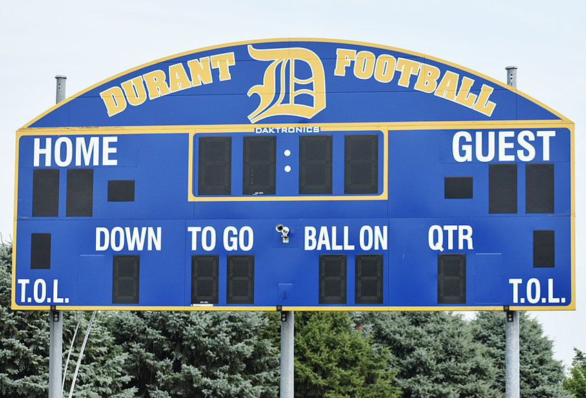 Thanks to a donation from the Durant Athletic Boosters, the Durant School District installed a new scoreboard at the football field last week. The new Daktronics sign was installed by A1 Sign & Crane of Blue Grass and, according to athletic director Matt Straube, it's a wireless operating sign.