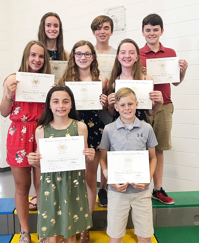 These sixth-grade students earned the Academic Excellence Award. Front: Kennadi Thiessen and Carter Hoyt. Second row: Anna Ruth, Jayda Neiber and Ava Haase. Back: Emme Allard, Cody Harkey and Kelan Gamet.