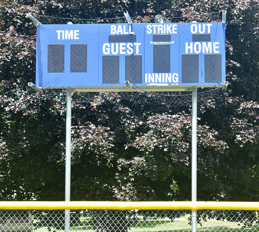 Thanks in part to a donation of $2,500 from Mike Kaufmann to the Wilton Park Board through the America's Farmers Grow Communities (sponsored by Monsanto), the Wilton City Park baseball diamond boasts a new electronic scoreboard.