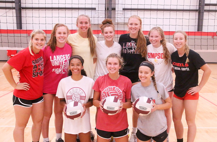 North Scott's volleyball team is loaded with experience, thanks to seven seniors and three underclassmen. Lancer veterans include, front (l-r): Sophomores Gracie Graham and Ella McLaughlin, and junior Taylor Robertson. Back: Seniors Rachel Anderson, Paige Blaskovich, Emma Powell, Emily Gehring, Kendall McNaull, Lauren Hanssen and Sam Lee.