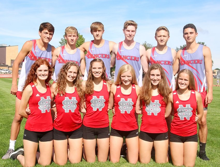These runners will serve as captains for North Scott's cross-country teams this season. Front (l-r): Emily Kundel, Brenna Bullock, Grace Sindt, Abbi Lafrenz, Ava Garrard and Zoe Warm. Back: Owen West, Chase Porter, Luke Crawford, Will Dowda, Chris Tague and Bryce Golden.