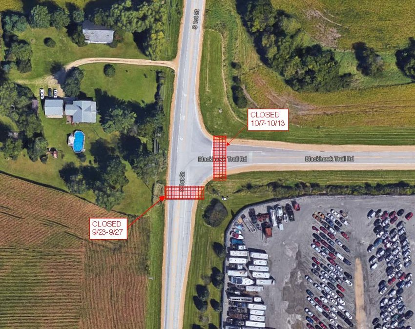 First Street and Black Hawk Trail Road closures are scheduled different weeks.