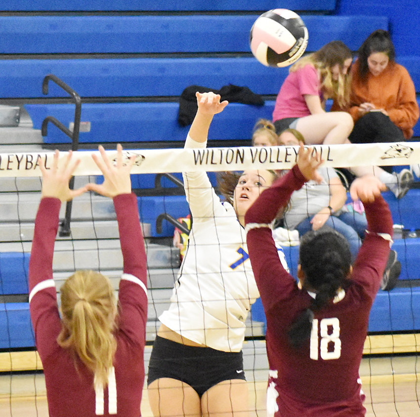 Wilton's Joann Martin hits over the defense in a home tournament win over Hillcrest Academy Sept. 14. The Beavers won all four matches without losing a set to claim the title in their home gym. They are ranked No. 6 in Class 2A and are 14-0 on the season.