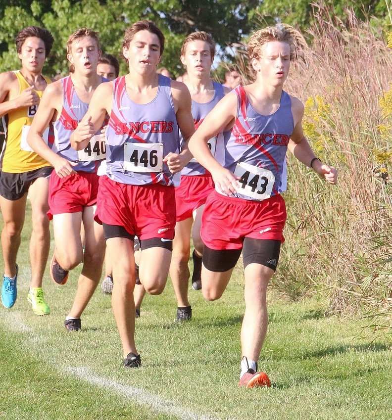 Pack running is paying dividends for North Scott's boys, as Chase Porter (443), Owen West (446), Luke Crawford (440) and Ethan Jost settle in at the front at last week's Lancer Invitational.