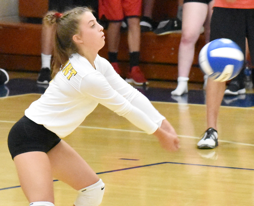 Durant's Brooklyn Bullard is shown making a dig in recent home action.