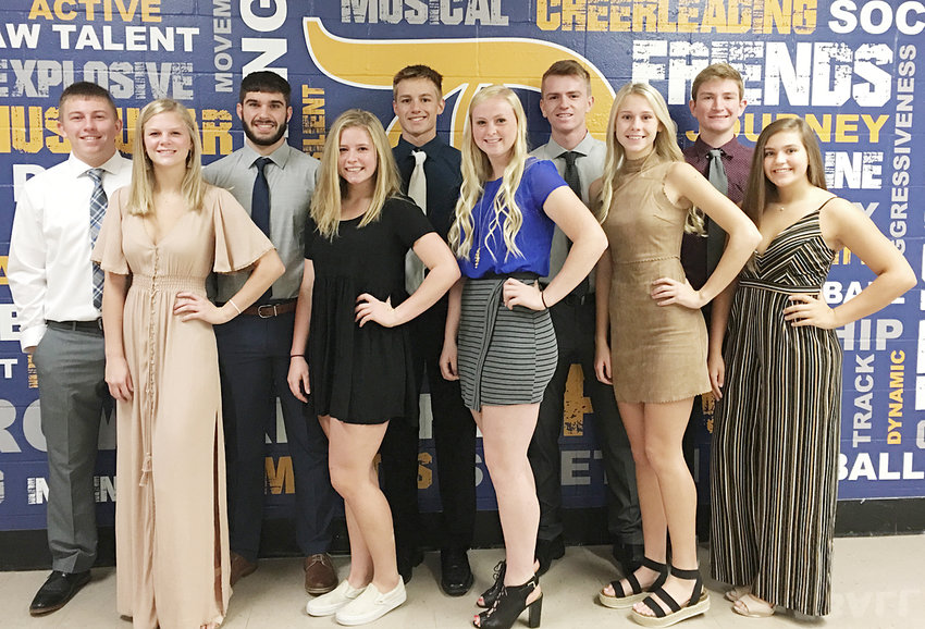 It's homecoming week at Durant High School. Pictured above is the 2019 senior homecoming court vying to be this year's homecoming king and queen. Front row from left, queen candidates Meg Koenig, Ellie Olsen, Allie Poston, Kira Schult and Laura Stineman; back row, king candidates Drew DeLong, Marcus Engstler, Kody Koberg, Brendan Paper and Jake Willkomm. The winners were announced following the parade and pep rally Oct. 9. Results were not available by press time.