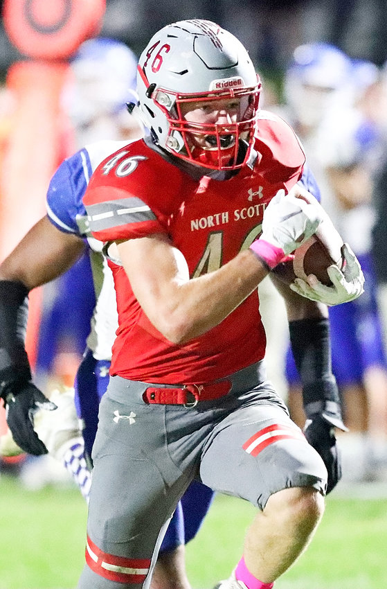 Senior Carter Schmidt had his eyes on the end zone as he finished off a pick-six with a 30-yard interception return Friday night.