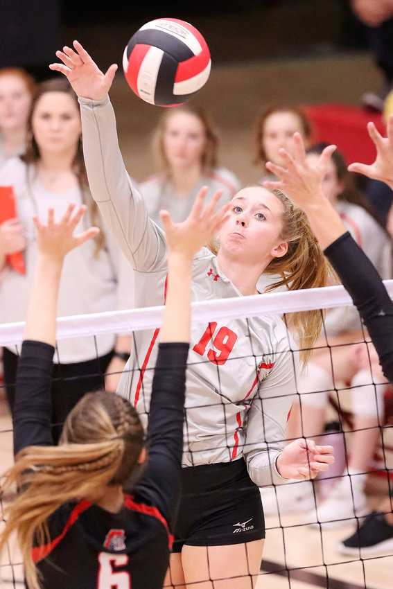 Lancer senior Emma Powell, who delivered 18 kills in Monday night's loss to Assumption, has her sights set on a long tournament run.