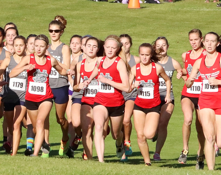 With Bailey Boddicker taking her usual spot at the head of the pack, the remaining Lancers battled for position at the start of the MAC meet. Lancers pictured include Kaitlyn Knoche (1098), Ava Garrard (1090), Abbi Lafrenz (1100), Zoe Warm (1115) and Grace Sindt (1110).