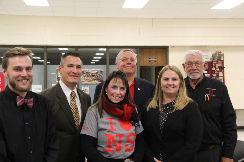 North Scott school board candidates, from left: Brett VanDeventer,Nick Hansel, Joni Dittmer, John Maxwell, Molly Bergfeld and Glen Keppy. Photo by North Scott FFA member Brianna Blake.