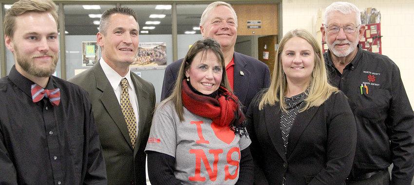 North Scott school board candidates, from left: Brett VanDeventer, Nick Hansel, Joni Dittmer, John Maxwell, Molly Bergfeld and Glen Keppy.