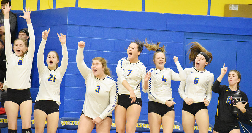 The Wilton bench responds after the Beavers won a point in Regional semifinal home action against North Cedar Oct. 31. The Beavers swept the Knights 25-20, 25-17, 25-21.
