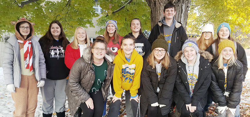 "The Durant-Wilton Family Career and Community Leaders of America (FCCLA) went trick-or-treating for cans in Durant on Halloween Oct. 31. ""We collected 524 pounds of food and $20 for the Durant-Wilton Food pantry,"" said adviser Mary Feuerbach. Pictured above include: front from left, Jenna Krause, Riley Rock, Madison Weber, Dayna Maiers and Ella Mundt; back row, Addysen Clark, Chloe Meana, Karissa Hoon, Ally Happ, Elizabeth Daufeldt, Lane Felske, Abby Ryan and Kaedyn Burkey."