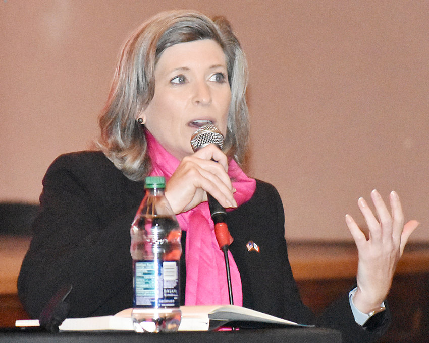 U.S. Sen. Joni Ernst (R-Iowa) is shown answering a question during a town hall at Central Middle School in Muscatine Nov. 2. The Muscatine County event was her 35th town hall of the year and the stop was the last on her annual 99-county tour.