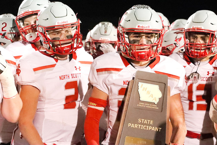 "The eyes of Jake Matthaidess (2), Luke Jennings and Dominic Miller (13) tell the story as North Scott received its third straight ""State Participant"" trophy after Friday's quarterfinal loss to Western Dubuque."