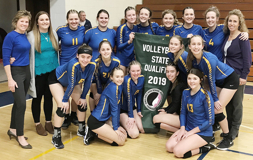 The Class 2A No. 4 ranked Wilton volleyball team qualified for state for the second straight season Nov. 5, with a 25-21, 25-22, 19-25, 25-13 win over West Branch in a Regional final in Durant. The Beavers received the No. 3 seed at the state tournament in Cedar Rapids Nov. 12-15, where their first match was against No. 6 seed Clarion-Goldfield-Dows Nov. 13. Results were not available by press time. Pictured above include: Front from left, Taylor Drayfahl, Peyton Souhrada, Mallory Lange, Alexa Garvin; middle row, Lauren Thompson, Courtney Bishop, Jozalynn Zaiser, Kiley Langley; back row, head coach Brenda Grunder, assistant coach Kelly Jo Jannings, Olivia Oveson, McKenzie Pallischeck, Kelsey Drake, Ella Caffery, Taylor Garvin, Joann Martin, Ellie Hugunin, assistant coach Angela Voss Dann.