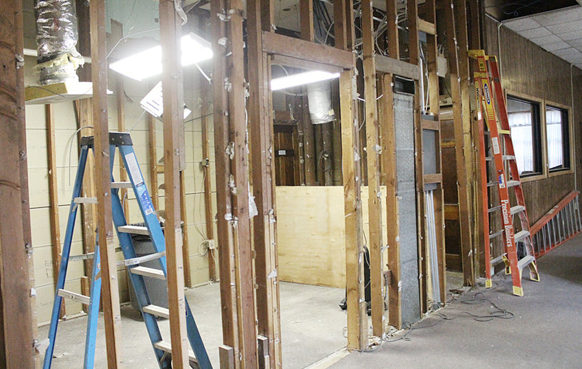 Renovations are ongoing at Wilton's City Hall, with phase one including updating the building's mechanical systems, bathrooms and administrative offices. A new sprinkler system is also being added. Above, the area where new bathrooms will be created is shown prior to new drywall and paint work being done.