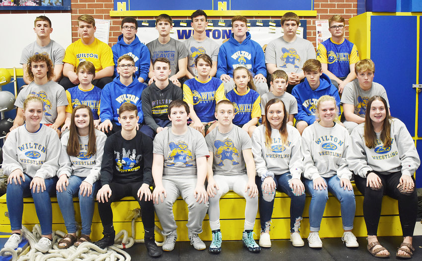 Wilton Varsity Wrestling—Front row from left, manager Anna Marine, manager Halie Lilly, Gage Oien, Aiden Hewitt, Dalton Snider, manager Chey Rae, manager Morgan Maurer, manager Mila Johnson; middle row, Trae Hagen, Dawson Haines, Colton Cruse, Kael Brisker, Mea Burkle, Jenessa Ervin, Chayton Ramsey, Lucas Dora, Gavin Schnepper; back row, Coy Baker, Briggs Hartley, Blake Conklin, Kaden Shirk, Cameron Keith, John Lilly, Colten Weaver, LeSane Bitterman. Not pictured: Max Yohe, Brady Reichert, Carl Kleppe, Zach Delever, manager Brooke Doehrmann. The Beavers are coached by Gabe Boorn.