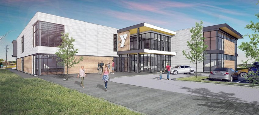 View from the southwest: Architect's rendering of the entrance to North Scott YMCA.