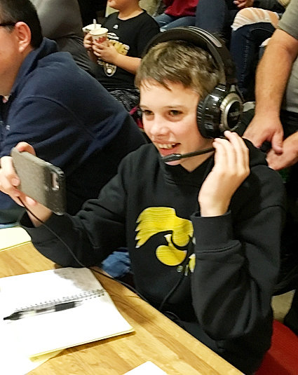Noah Schlicksup is a seventh-grade Eldridge student who is homeschooled. He broadcasts North Scott games on his own YouTube channel by filming the games on his phone and providing play-by-play. He covered North Scott's win over Rock Island for The NSP.