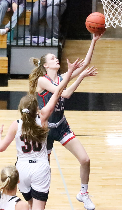 North Scott senior Sydney Happel has played an important role off the bench for the Lancers, and contributed five first-quarter points in the win over Clinton.