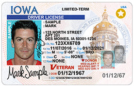 A sample Iowa REAL ID, which includes the gold circle with a star within it, signifying the individual has gone through the proper steps to prove their identity and, frankly, that he or she is not a terrorist.