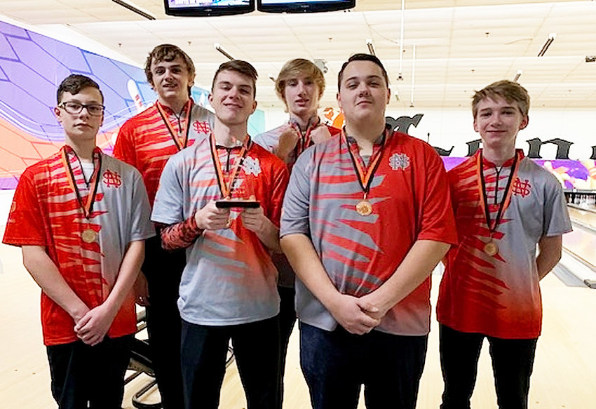 North Scott's boys' bowling team finished third at the Cedar Rapids Prairie Bakers Tournament on Dec. 14. From left: Morgan Welch, Kyle Emerson, Dylan Elam, Max Adkisson, Landon Rupp and Lex Adkisson.