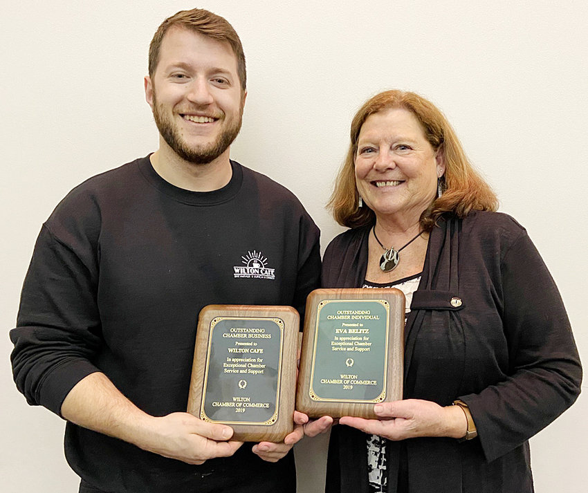 "Sakir ""Chili"" Alimoski (left) accepted the Wilton Chamber of Commerce's annual Outstanding Business award on behalf of the Wilton Cafe at the 58th Annual Dinner Jan. 20. Former Executive VP Eva Belitz was given the Outstanding Individual award."