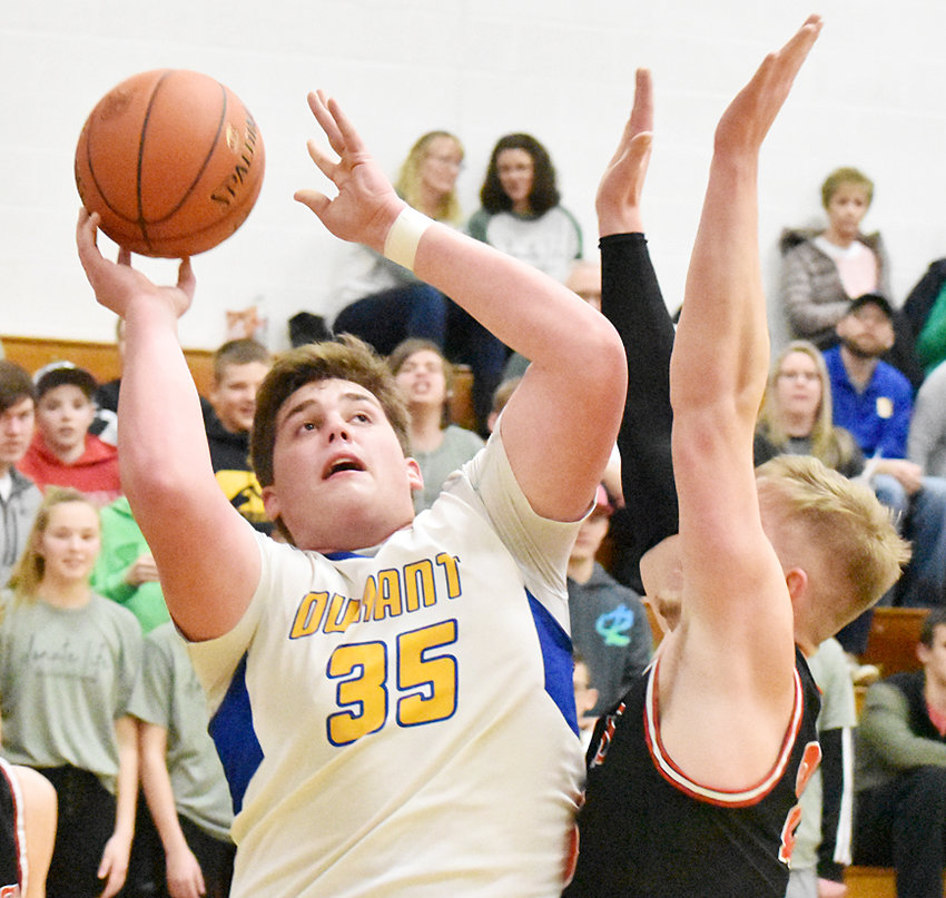 Durant's Joe Lilienthal is shown working inside in recent home action against West Branch. The Cats defeated West Liberty on the road 63-40 Jan. 21.