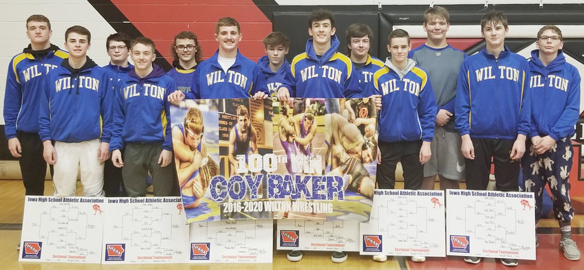 The Wilton wrestling team had a big day in West Branch Feb. 8, qualifying 10 wrestlers to the Class 1A District tournament to be held on home mats Feb. 15. During the tournament, senior Coy Baker notched his 100th career win on the way to a title at 182 pounds. Other Sectional champions included Gage Oien, Dalton Snider, Kael Brisker, Kaden Shirk and Cameron Keith.