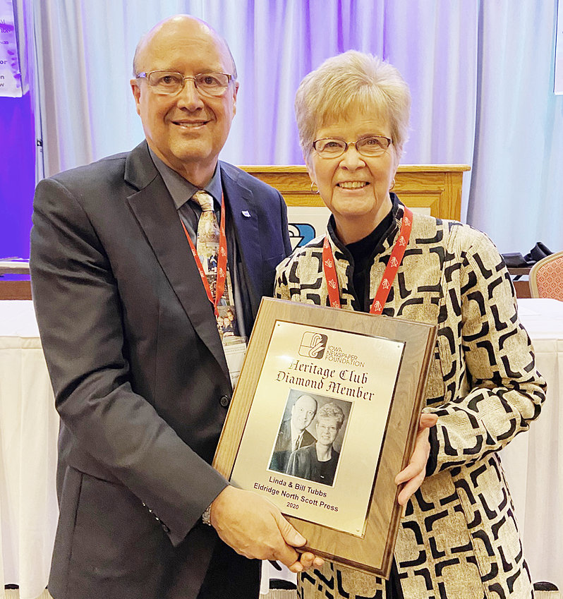 Advocate News Publishers Bill and Linda Tubbs were recognized at the Iowa Newspaper Association's annual convention and trade show Feb. 7 for their inclusion into the Iowa Newspaper Foundation's Diamond Club, reserved for those who contributed $10,000 or more to the foundation.