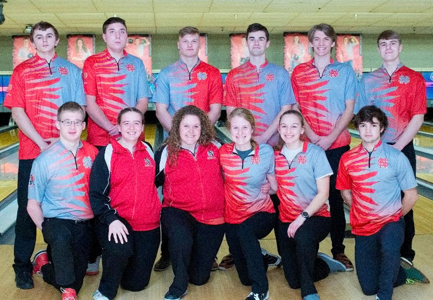 North Scott's bowlers observed Senior Night on Monday, Feb. 3. Honored seniors included, front (l-r): Jason Apple, Raven McCabe, Myah Herrington, Grace Bjustrom, Brenna Bullock, and Luke Haedt. Back: Kyle Emerson, Derick Cudd, Grayson Drezek, Jack Kilburg, Garrett Bowe and Parker Seibert. Not pictured is Sophie Hughes.