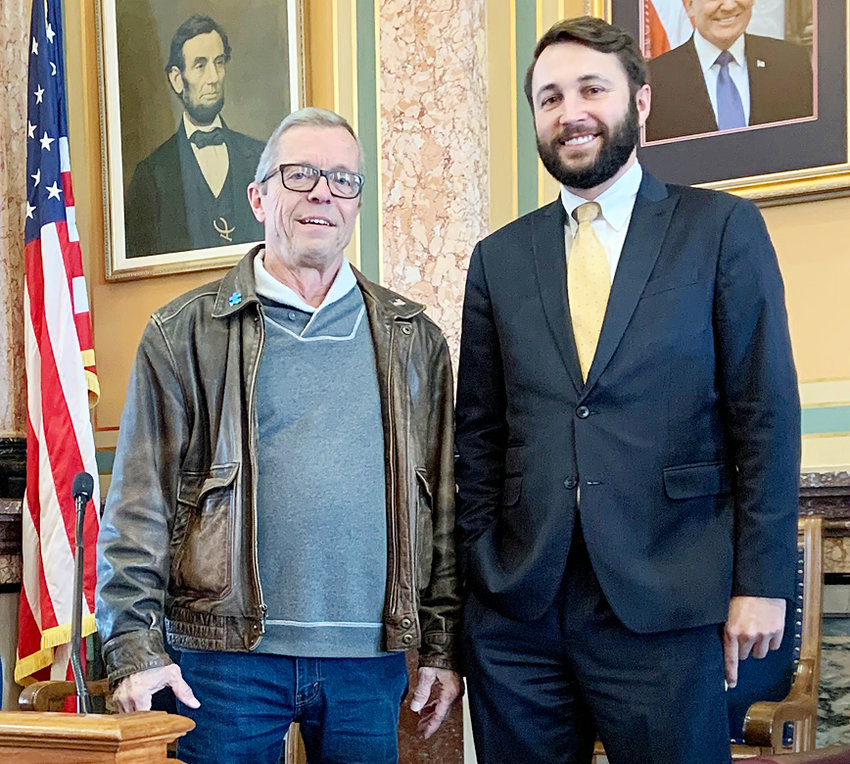 Rep. Bobby Kaufmann (R-Wilton) welcomed constituent Mike Shuger to the Iowa House of Representatives. Shuger was visiting the Capitol to meet with Rep. Kaufmann and discuss a variety of topics. Pictured is Bobby Kaufmann (Wilton) and Mike Shuger (Wilton).