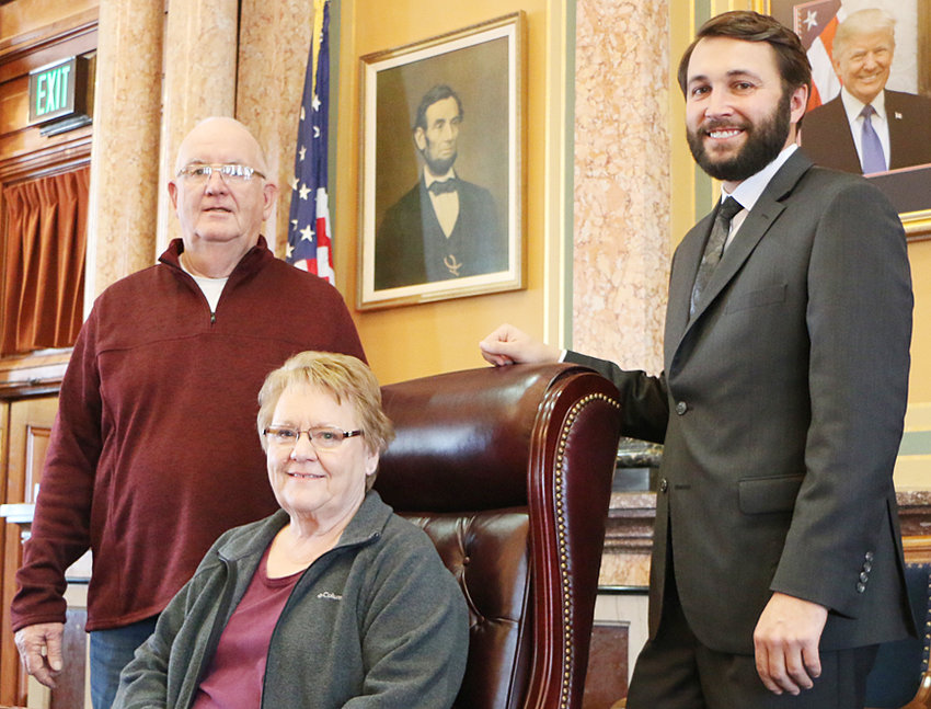 Rep. Bobby Kaufmann (R-Wilton) welcomed Dennis and Vickie Anderson to the Iowa House of Representatives. The Andersons were visiting the Capitol to meet with their representative, Rep. Kaufmann. Pictured is Bobby Kaufmann (Wilton), Dennis Anderson (Moscow) and Vickie Anderson (Moscow).